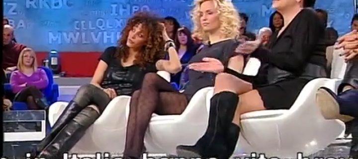 Justine Mattera in collant in TV