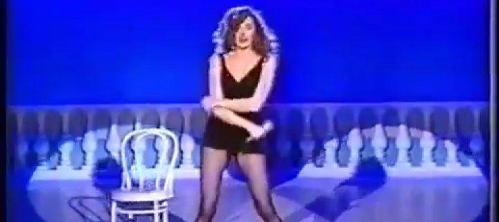 Alba Parietti Balla in Collant Neri
